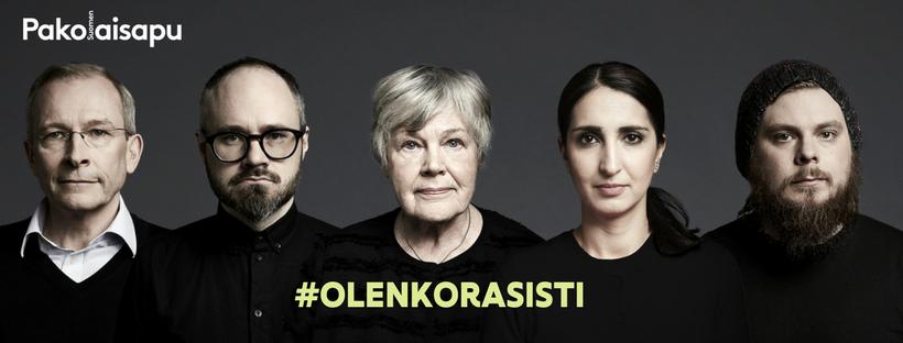 #olenkorasisti -kampanjan lähettiläät Tuomas Enbuske, Iikka Kivi, Risto E.J. Penttilä, Nasima Razmyar ja Elisabeth Rehn.