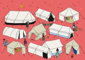 Pakolaisavun Sama taivas -joulukalenterissa kuvituksena pakolasileirien telttoja tähtitaivaan alla