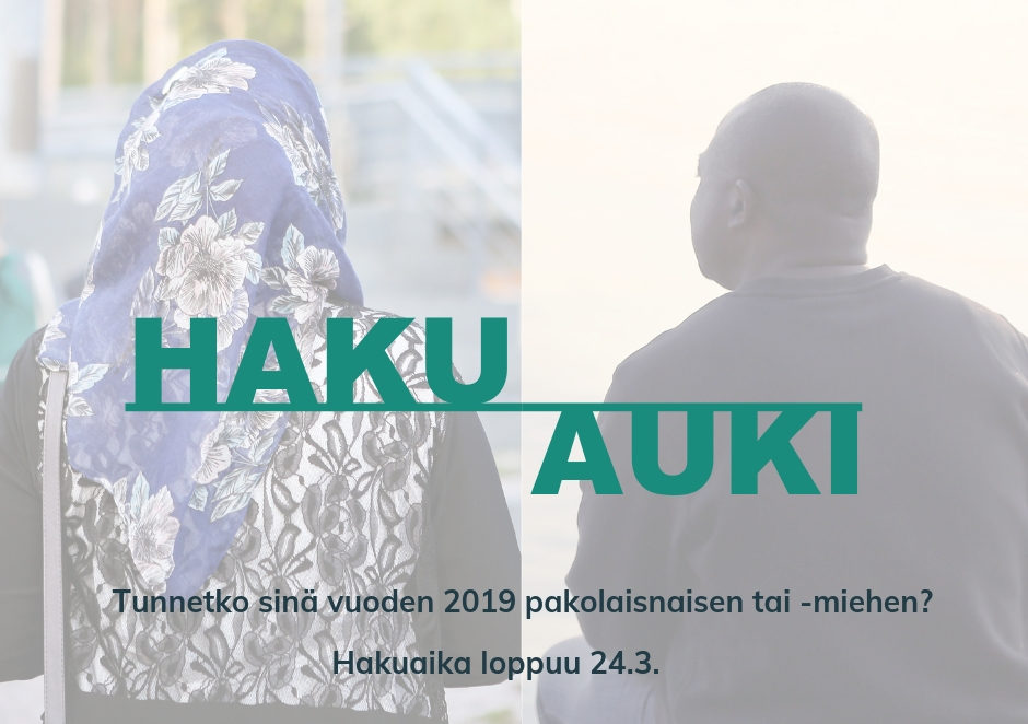 Vuoden pakolaiset 2019 haku on auki