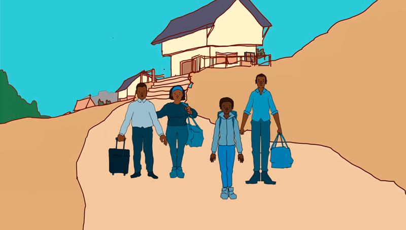 Kuva UNHCR:n globaalikasvatusmateriaalista, jossa piirretty perhe joutuu pakenemaan kodistaan