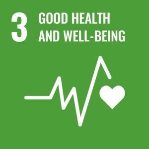 SDG logo with text: Good health and well-being