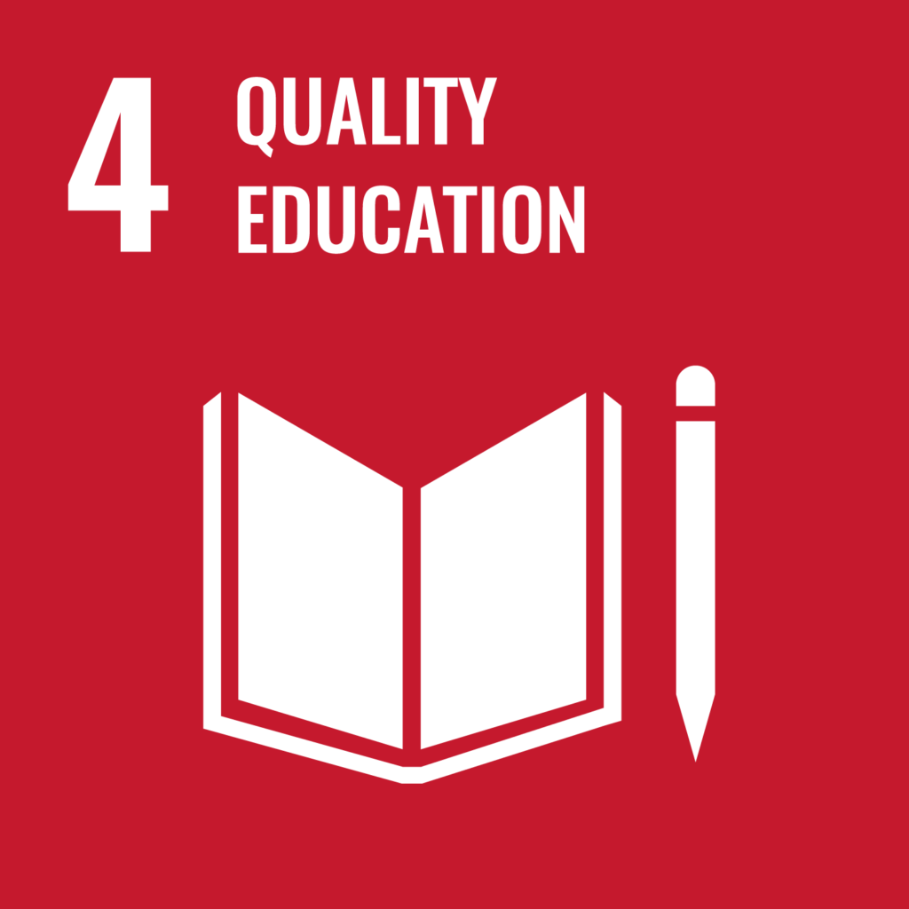 SDG logo with text: Quality education