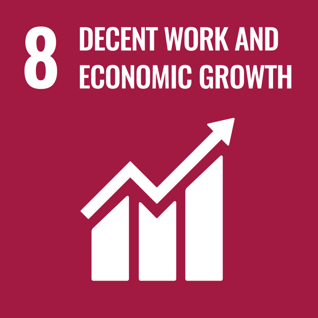 SDG logo with text: 8 Decent work and economic growth