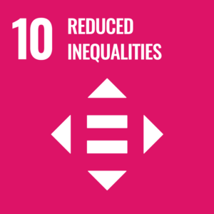SDG logo with text: 10 reduced inequaities