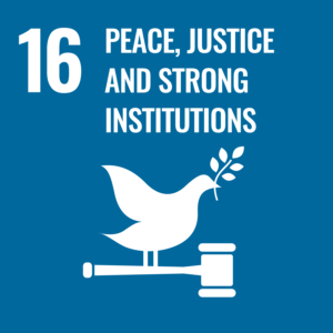 SDG logo with text: 16 Peace, justice and strong insitutions