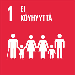 Punaisella taustalla erilaisia ihmishahmoja ja teksti: 1, Ei köyhyyttä.