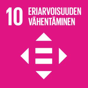 Pinkillä taustalla teksti: 10, Eriarvoisuuden vähentäminen