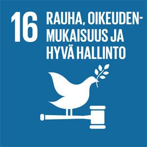 Sinisellä pohjalla rauhaa symboloiva kyyhky ja teksti: 16, Rauha, oikeudenmukaisuus ja hyvä hallinto