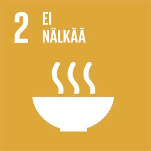 Keltaisella taustalla logo, jossa hyöryävä ruoka-annos. Kuvassa teksti: 2, Ei nälkää.