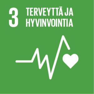 Vihreällä pohjalla sydänkäyrää kuvastava logo sekä teksti: 3, Terveyttä ja hyvinvointia