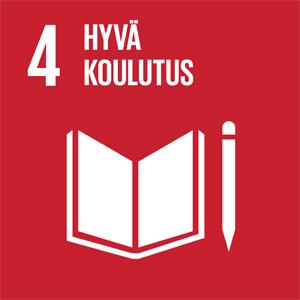 Punaisella taustalla kirja ja kynä. Kuvassa on teksti jossa lukee 4, Hyvä koulutus.