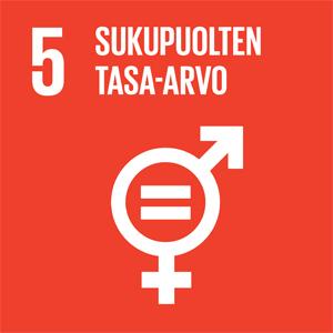 Oranssilla taustalla sukupuolten välistä tasa-arvoa symboloiva kuvake sekä teksti: 5 Sukupuolten tasa-arvo