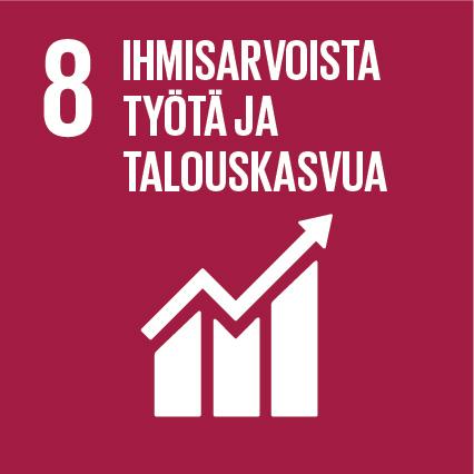 Violetilla pohjalla talouskasvua kuvastava logo sekä teksti: 8, Ihmisarvoista työtä ja talouskasvua.