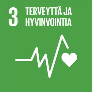 Vihreällä taustalla teksti 3. Terveyttä ja hyvinvointia sekä sydänkäyrä.