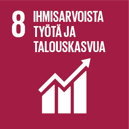 Tummanpunaisella taustalla lukee teksti 8. Ihmisarvoista työtä ja talouskasvua sekä nuoli, joka nousee kohti oikeaa yläreunaa.